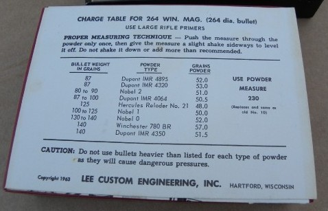 CHARGE TABLE FOR 264 WIN MAG